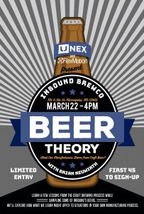 FlexMation and UNEX present Beer Theory, March 22, 4pm at Inbound BrewCo